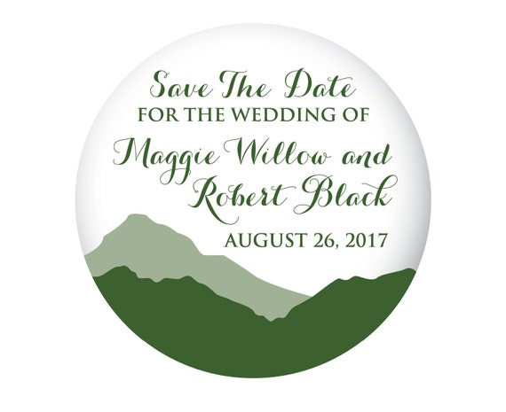 Mountain Save The Date Magnets for Wedding, Outdoor Wedding, Mountain Wedding, Green with Script, 20 Pieces Per Order