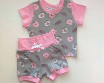 Girl Two Piece Child Clothing Set, Doughnut, Pink and Gray