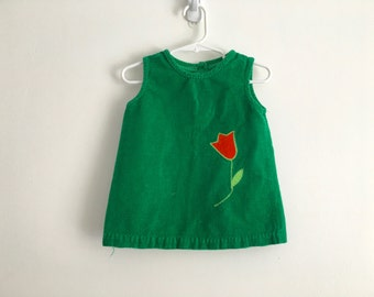 1970s / 1980s toddler girls FOLK smocked corduroy overdress / sundress / tank top with embroidered tulips duck/ math / addition