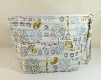 Knitting Project Bag - Large Zipper Wedge Bag in Gold and Silver Holiday Pine Cone Quilting Fabric with Gold Chevron Lining