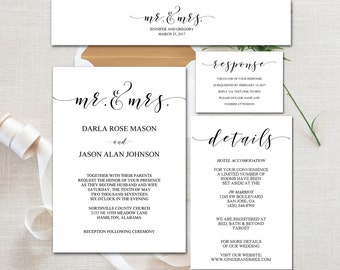 Wedding Invitation Suite, (5) Editable, Printable PDF Templates, Invitation, Details Card, Response Card, Belly Band Wrap, DIY Wedding Set