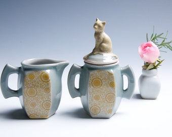 Cat Ceramic Cream and Sugar Set / Icy Blue and Yellow