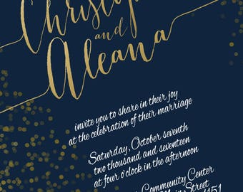 Gold Foil Confetti Wedding Invitations - Navy and Maroon Wedding Invitation - Classic Wedding - Custom Listing for tswiney8