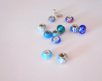 Blue Euro Style Beads ... Shades of Blue, Everything Shown, As Shown  ... Pandora Style, Euro Beads ... 12 Large Hole Beads for DIY Projects