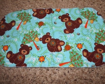 Brown Bear Flannel Burp Cloth Honey Bee Hive Flower