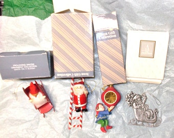 Avon Christmas ornaments lot Santa Claus elf hanging ornament assortment boxes included pewter mixed designs content holidays tree decor