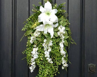 Spring/Summer Wreath-Teardrop Vertical Door Swag Decor-Artificial Floral Swag-White Lilies-Wispy Swag-Indoor/Outdoor Use