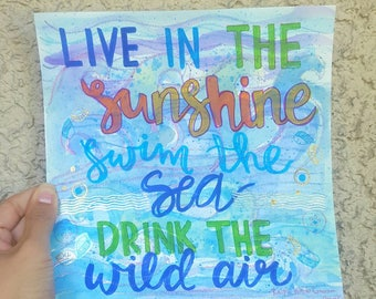 Live in sunshine Watercolor Calligraphy Art