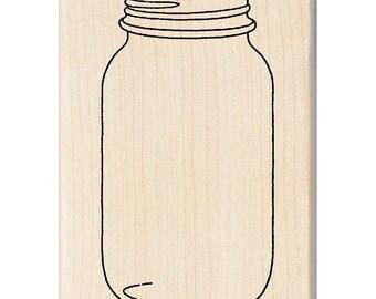 Wood Mounted Rubber Christmas Stamp - Mason Jar