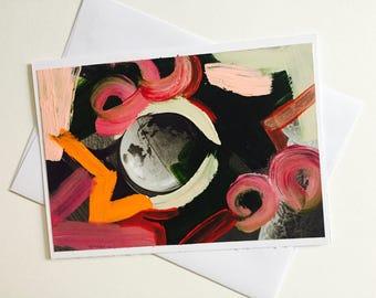 Globe hand painted greeting card