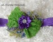 lime purple shabby baby headband/newborn headband/ baby hair bow/ hairbow/ baby bow/headband/ toddler hairbow,hair bow/ photo prop