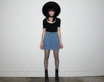 Button Front HIGH WAIST Vintage DENIM Skirt 90s Mini Womens Size 27