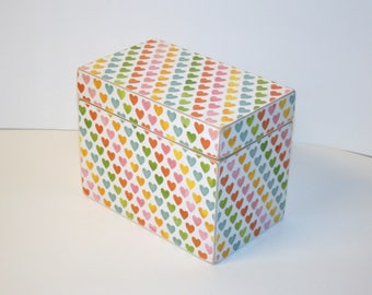 READY TO SHIP Recipe Box - Rainbow Heart Print Handmade 4x6 Wooden Recipe Box Wedding Guest Book Box Keepsake Box