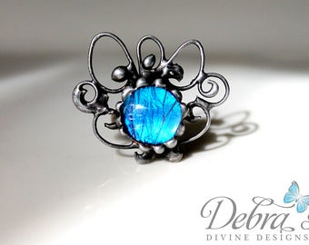 Blue Butterfly Filigree Ring - Natural History Jewelry