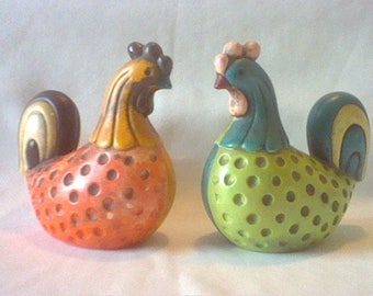 Pair of vintage Ardco Fine Quality Dallas mid century ceramic rooster chicken figurines