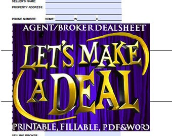 Real Estate Agent, or Broker Deal Sheet Printable and Fill-able Form, Real Estate Tools, Forms, Printable Forms,Tools for Real Estate Agents
