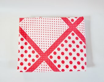 "Vintage Flat Sheet  RED POLKA DOTS 81"" x 104"" Double Flat Size 1970s"