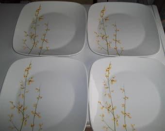 """4 Corelle Square Kobe Dinner Plates 10 1/2"""""""