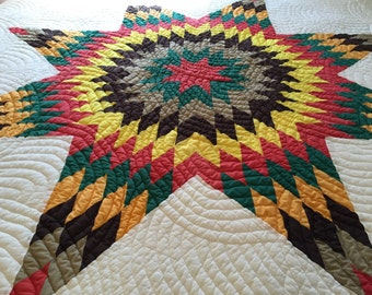 Bold LONE STAR Vintage Quilt Beautiful VIBRANT Colors Excellent!