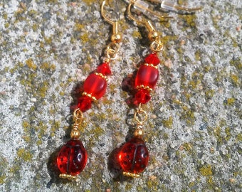 Ayla's Bead Creations red Lady Bug  dangle  gold earrings
