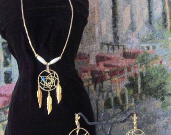 Southwestern Dream Catcher Necklace & Dangle Earrings Set Gold Tone, Turquoise Bead