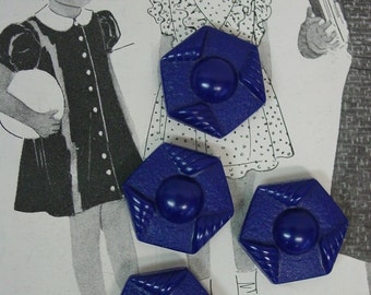 Vintage Buttons c.1930's Octagon Shape Plastic, Deep Blue, 4 Matching, Perfect  1""