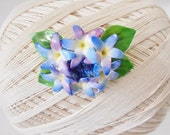 Cara China Hydrangea Flower Brooch, Staffordshire, Fine china, Flower pin, Blue Purple Green, Made in England, Mother's Day, Garden Party