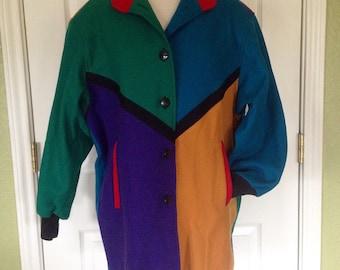 80s Colorblock Coat / 80s Slouchy Wool Coat