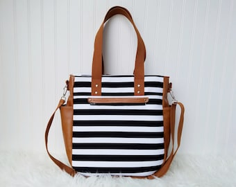 Black and White Stripes 3-in-1 Convertible Backpack Diaper Bag/Nappy Bag