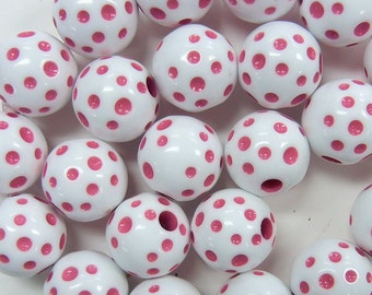 15mm carved polka dot round, pale dark pink and white, vintage lucite beads, 14 pieces (VLB-91)