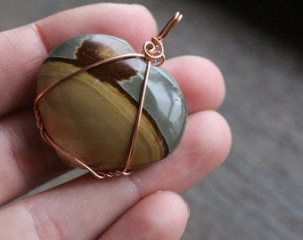 Polychrome Jasper Heart Shaped Pendant  #7095
