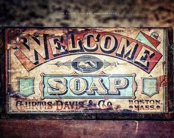 Art for Bathroom, Brown Turquoise Bathroom Wall Decor, Kids Bathroom Decor, Nursery Decor, Rustic Bathroom Decor, Bath Soap Print or Canvas.