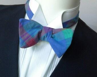 bow tie, cotton plaid bowtie, freestyle, self tie, for men / adjustable bowtie by bagzetoile, France,