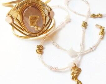 Nefertiti Bracelet-Waist Beads Set; Rose Quartz Queen Set; Rose Quartz Nefertiti  Waist Beads Set, Holiday Jewelry Set