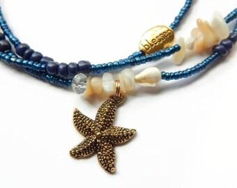 African Waist Beads, Yemaya Waist Beads,  Mami Wata, Yemanja Waistbeads,  Mother-of-Pearl Ocean Goddess Waist Beads, Goddess Belly Chain,