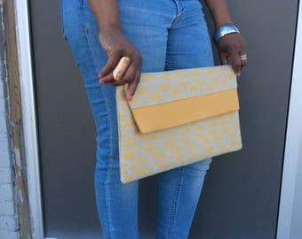 Mustard yellow and Creme Triangle Print with Mustard Faux Leather Yoke Oversized Clutch Bag