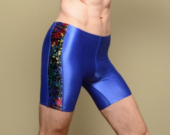 vintage 80s 90s workout shorts spandex tights rainbow abstract cosmic pattern aerobics dance gym Rainbeau XS/S