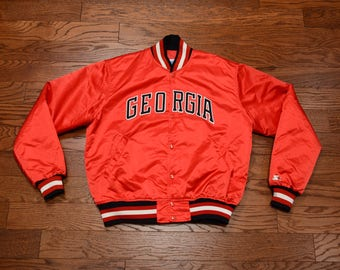 vintage Starter jacket 80s Georgia Bulldogs red jacket satin bomber hip hop street style 1980 large L college 80s jacket