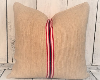 "19x19""Authentic Grain Sack - Red White and Blue Stripe"