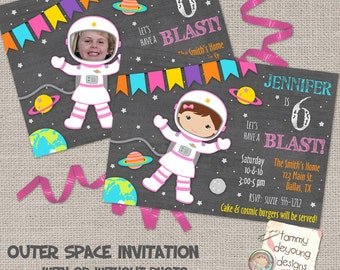 Girls Outer Space Birthday Invitations, Girl Astronaut Invites, Cosmic Birthday Party invites for girls chalkboard personalized, you print