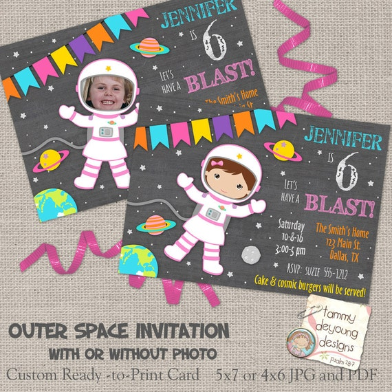 Girls Outer Space Birthday Invitations Girl Astronaut