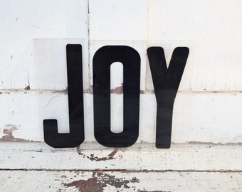 """Vintage JOY Sign Marquee Word Letters Plastic Black 9"""" Acrylic Photo Prop Christmas Decoration"""