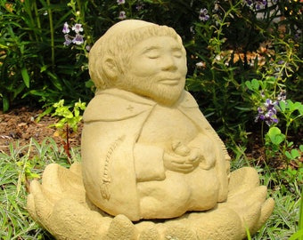 MEDITATING SAINT FRANCIS Zen Creation Garden Statue, Original Copyrighted Sculpture, Durable Cast Stone, Sealed Concrete Outdoor Safe. U.S.A