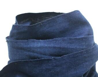 Japanese Indigo Cotton. Artisan Aizome Boro Textile. Blue Vintage Folk Fabric (Ref: 1742)