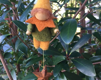 Felt gnome ornament with rusty star and wood slice, Christmas ornament, wall hanger, natural decor