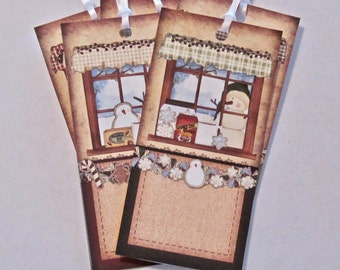 Christmas Winter Snowman Tags, Wedding tags, gift tags lot of 6