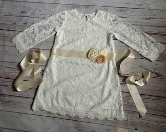 off  white flower girl dress, baby dress, off white girl dress, lace dress, white  flower girl dress, champagne flower girl dress