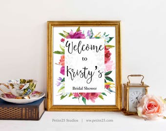 Welcome bridal shower sign, shower decor, floral frame, printable sign, floral watercolor sign, wedding shower sign, 8x10, 5x7