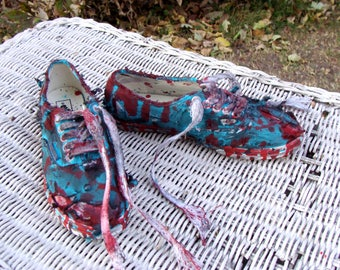 Zombie Shoes. Bloody Shoes. Custom Made. Bloody Teal Green Vans. ZOMBIE Halloween Costume. The Walking Dead. US women's size 6 men's 4.5