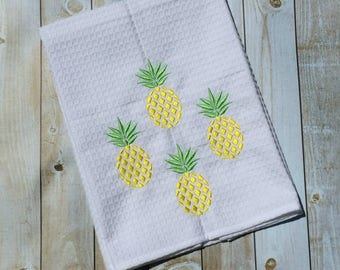"""Embroidered Yellow Pineapple Kitchen Towels 20"""" x 28"""""""